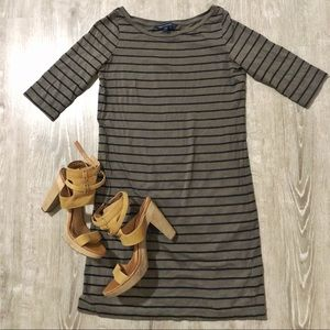 FRENCH CONNECTION Green Black Stripes Shirt Dress